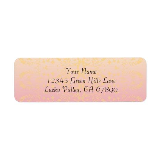 Pink Peach Custom Return Address Label Template