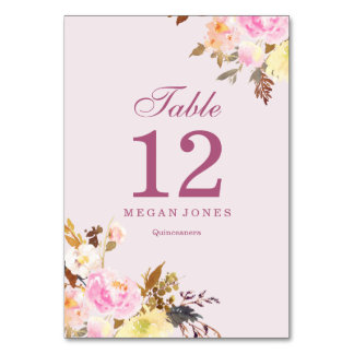 Pink Peach Floral Elegant Quinceanera Table Number