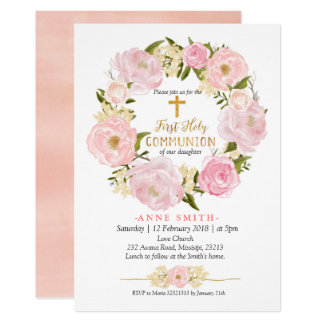 Pink Peach Floral First Holy Communion Card