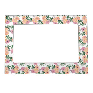 Pink&Peach Floral Pattern Frame Magnet