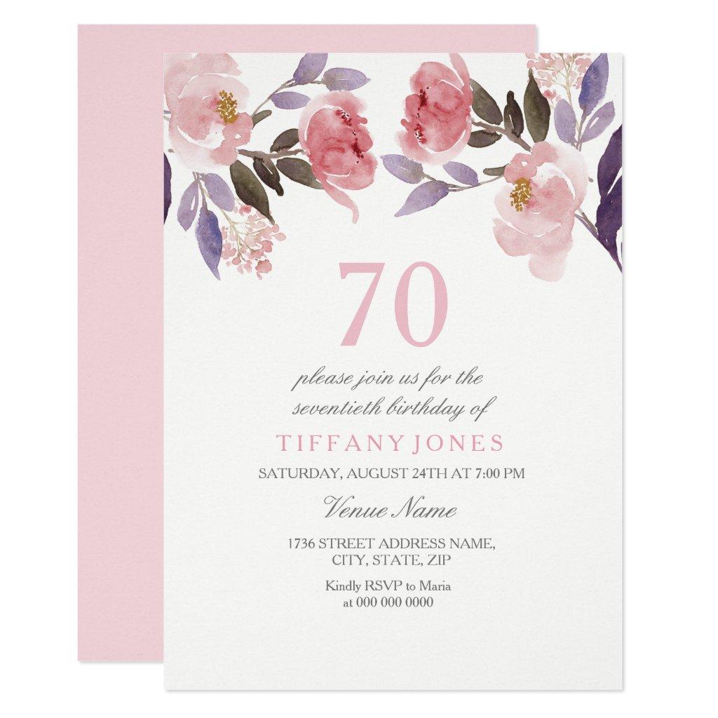 Pink Peach Floral Watercolor 70th Birthday Invite