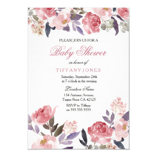Pink Peach Floral Watercolor Baby Shower Invite