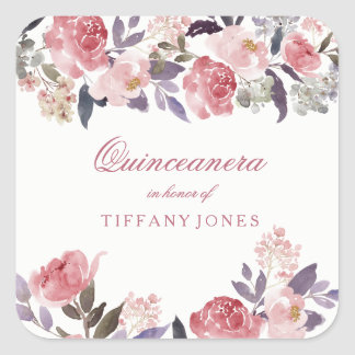 Pink Peach Floral Watercolor Quinceanera Party Square Sticker