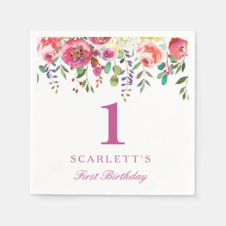 Pink Peach Flowers Girl 1st Birthday Party Napkin Paper Napkins