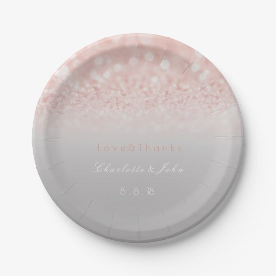 Pink Peach Glitter Gray Ombre Paper Plate 7