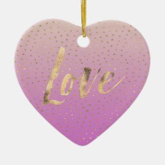 Pink Peach Gold Ombre Confetti Dots Christmas Ornament