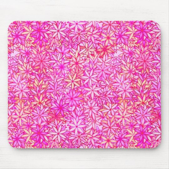 pink, peach, orchid and coral flowers mouse mat