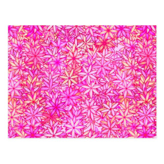 pink, peach, orchid and coral flowers postcard