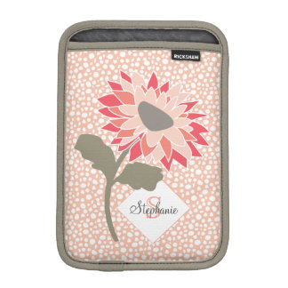 Pink-Peach-Salmon Flower Random Dots Monogram iPad Mini Sleeve