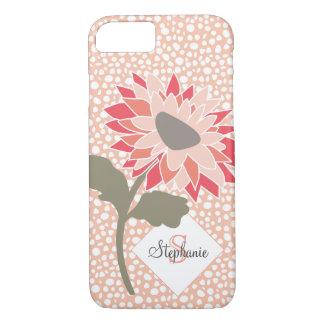 Pink-Peach-Salmon Flower Random Dots Monogram iPhone 8/7 Case