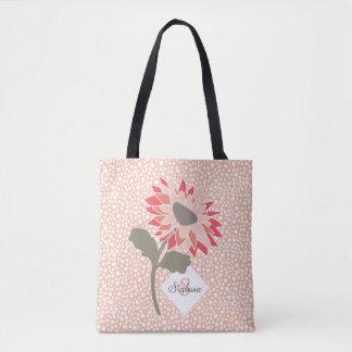 Pink-Peach-Salmon Flower Random Dots Monogram Tote Bag