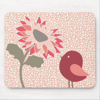 Pink-Peach-Salmon Flower Random White Dots Mouse Mat
