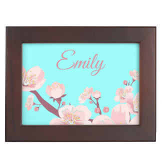 Pink Peach Tree Blossoms Floral Flowers Name Keepsake Box
