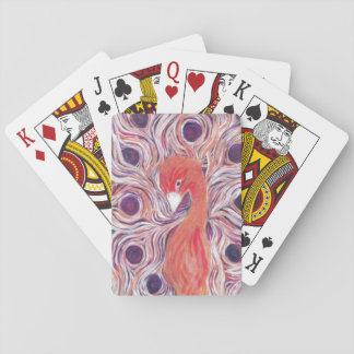 Pink Peacock Designer Playing Cards