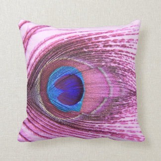 Pink peacock feather heart cushion
