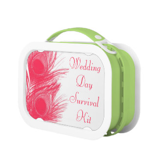 Pink Peacock Feather Wedding Day Survival Kit Box Lunchboxes