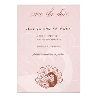 pink peacock save the date 13 cm x 18 cm invitation card