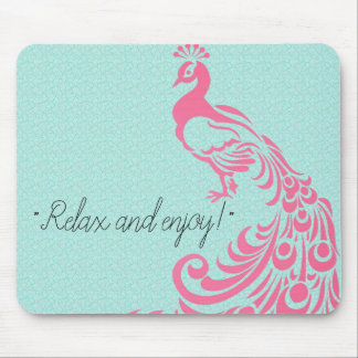 PINK-PEACOCK-SELF-EXPRESSION-TEMPLATE MOUSE MAT