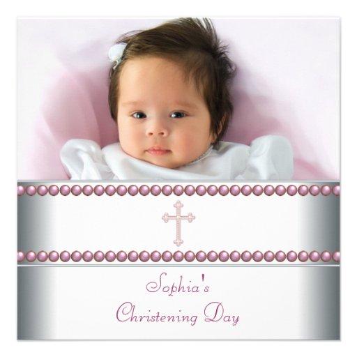 Pink Pearl Baby Girl Photo Christening Invitation