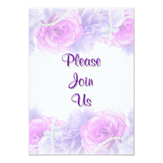 "Pink pearl blue rose party 5"" x 7"" invitation card"