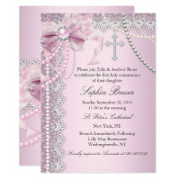 Baptism invitations announcements zazzle pink pearl bow cross holy communion or baptism stopboris Choice Image