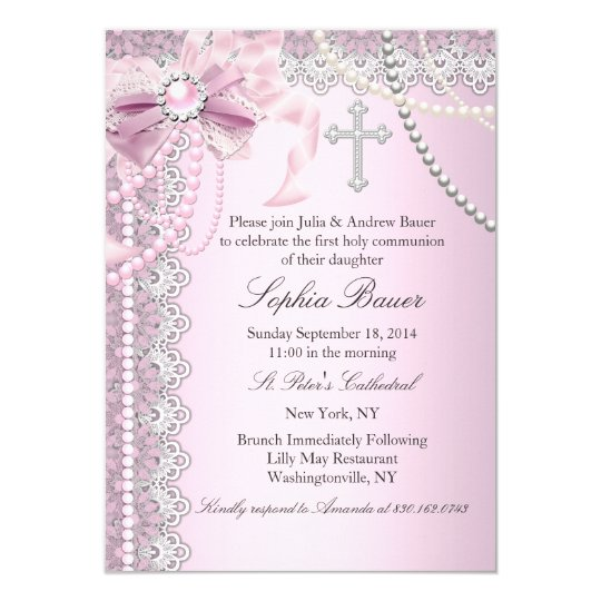 Pink Pearl Bow Cross Holy Communion or Baptism