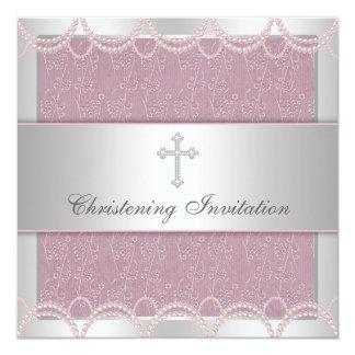 Pink Pearl Cross Baby Girl Baptism Christening Card