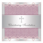 Pink Pearl Cross Baby Girl Baptism Christening Invites