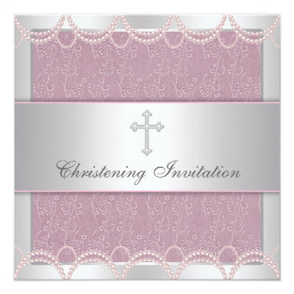 Pink Pearl Cross Baby Girl Baptism Christening Invitation