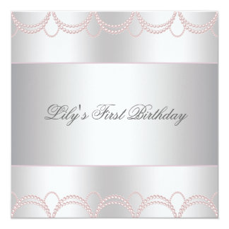Pink Pearl Girls First Birthday Party 13 Cm X 13 Cm Square Invitation Card