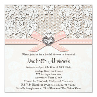 Pink Pearl Lace Diamond Bridal Shower Invitations