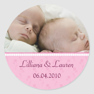 Pink Pearl Twins Announcement Sticker