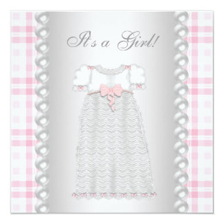 Pink Pearls Dress Pink Gingham Baby Girl Shower Card