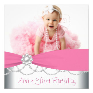 Pink Pearls Girls Photo 1st Birthday Party Announcements