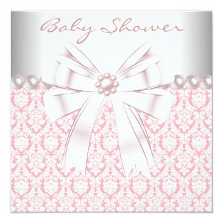 Pink Pearls Pink Damask Baby Girl Shower Card