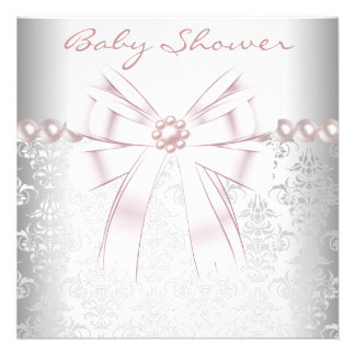 Pink Pearls Pink Damask Baby Girl Shower Invitations