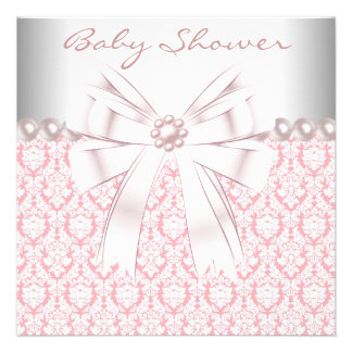 Pink Pearls Pink Damask Baby Girl Shower Personalized Announcement