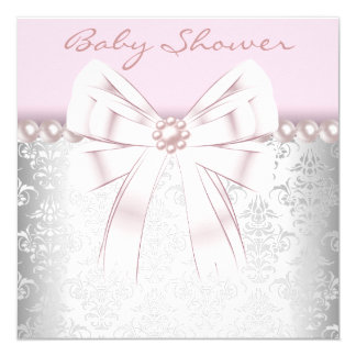 Pink Pearls Pink Damask Baby Shower Card