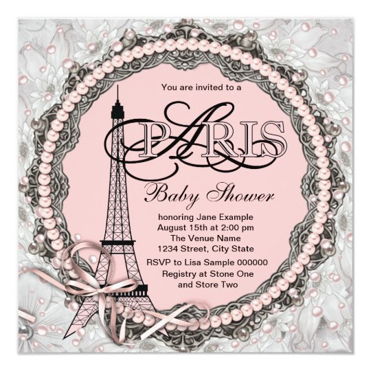 Pink Pearls Pink Paris Baby Shower Card