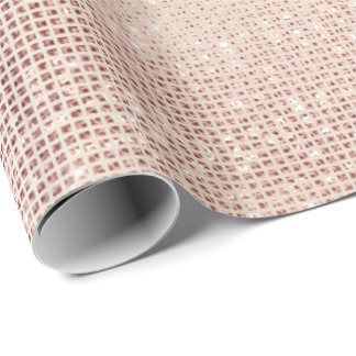 Pink Pearly Faux Ivory Sparkly Grill Metallic Wrapping Paper