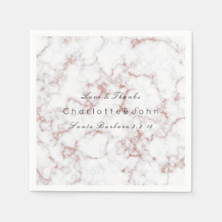 Pink Pearly Rose Gold White Gray Marble Party Paper Napkins