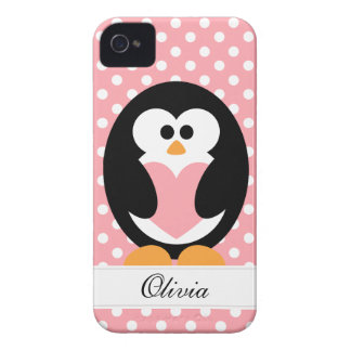 Pink Penguin Love iPhone 4 Case