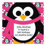 Pink Penguin Party Invitation 13 Cm X 13 Cm Square Invitation Card