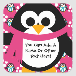 Pink Penguin Party Stickers
