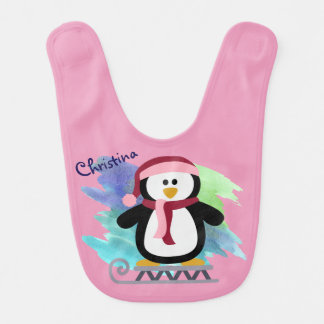 Pink Penguin Sledding Bib