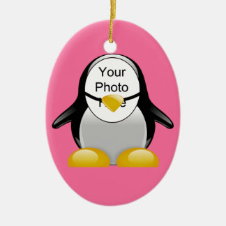 Pink Penguin Suit Photo Template Hanging Ornament
