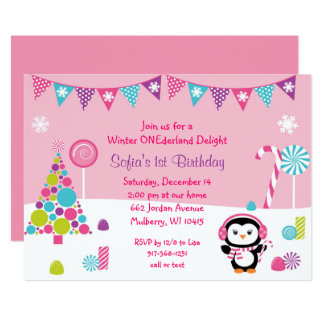 Pink Penguin Wonderland 1st Birthday Card
