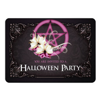 Pink Pentagram Halloween Party Invitation 1