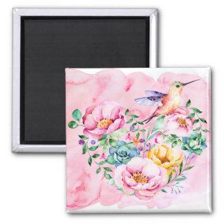 Pink Peonies and Hummingbird Heart Magnet