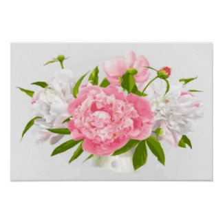 Pink Peonies Fine Floral Poster